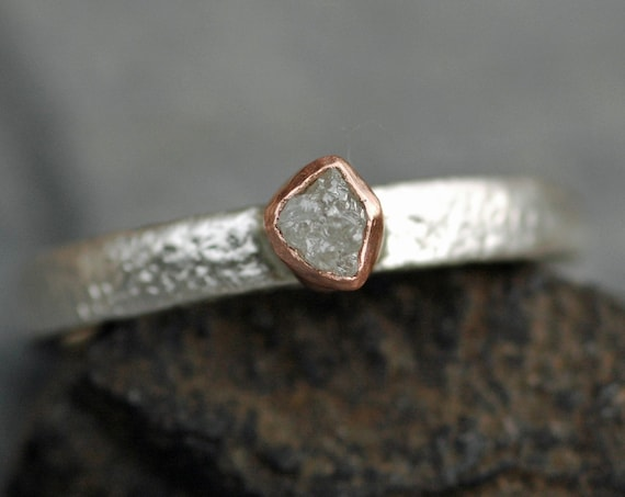 Rose Gold and Reticulated Sterling Silver Rough Diamond Ring- Ready to Ship