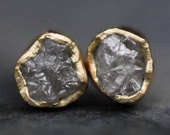 Rough Diamond Earrings- Bezel Post Earrings Raw Uncut Diamonds- Made to order