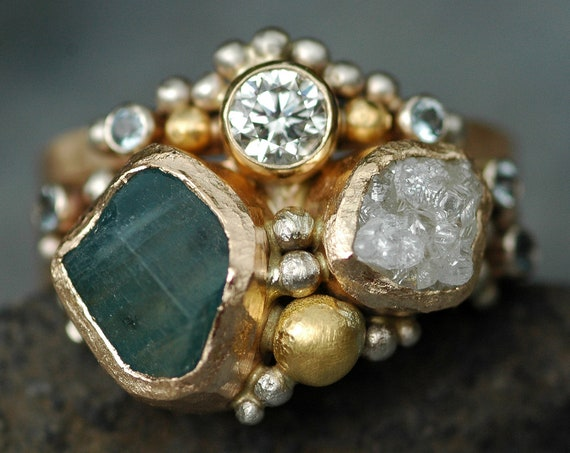 Multistone Raw Aquamarine, Rough and Cut Diamond Recycled Gold Stacking Ring Set- Two Custom Made Rings