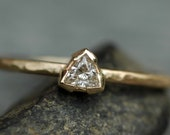 Recycled Diamond Trilliant Triangle on Recycled 14k Yellow Gold Engagement Ring- Size 9 Ready To Ship