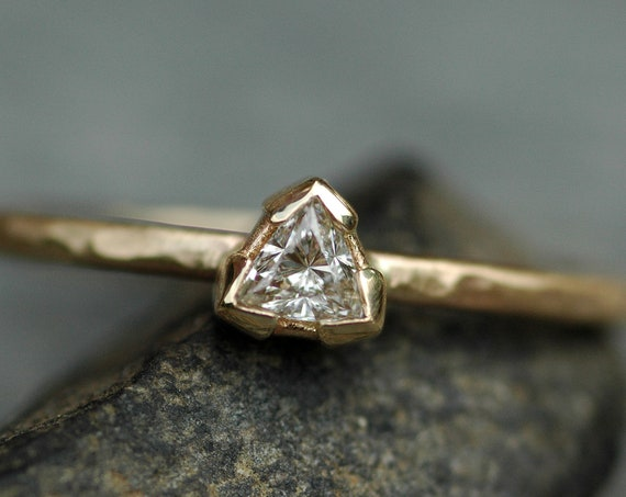 SALE 50% off- Recycled Diamond Trilliant Triangle on Recycled 14k Yellow Gold Engagement Ring- Size 9 Ready To Ship