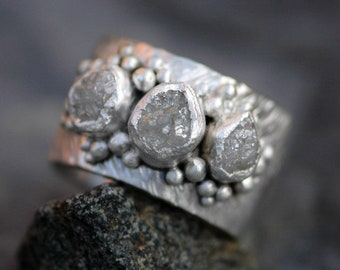 Triple Raw Diamond Ring in Herringbone Texture Sterling Silver- Custom Made Band