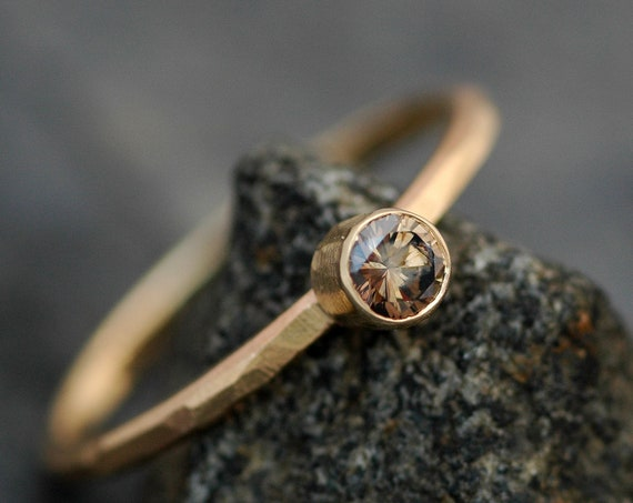 Cognac Chocolate Diamond in Recycled 14k Yellow Gold Engagement Ring- Textured Faceted Band, Ready to Ship Size 7