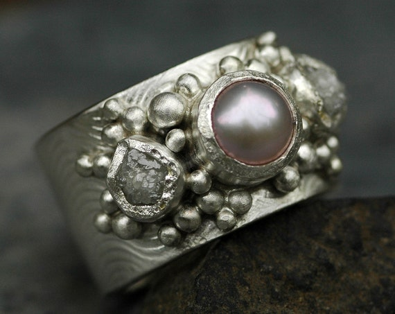 Raw Rough Diamonds and Pink Pearl in Wave Textured Recycled Sterling Silver Ring- Custom Made