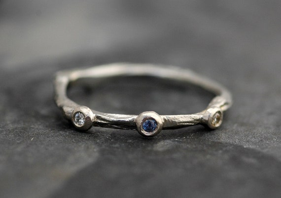Yogo Sapphire, Diamond and 14k Gold Branch Ring- Twig Band, Custom Made Wedding or Engagement Ring in Yellow, White, or Rose Gold