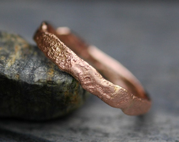 Reticulated Recycled Rose Gold Ring- Custom Made to OrderTextured Wedding Band