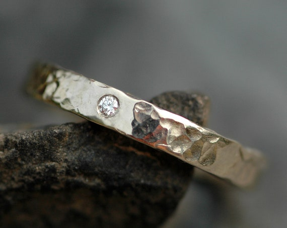 14k White Palladium Gold Band with Diamond- Recycled Stone and Metal Wedding Ring