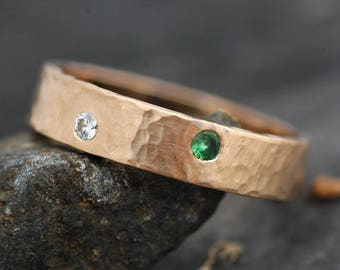 Recylcé épais 14k ou 18 k bague en or avec trois couleur serti de pierres de diamants et pierres précieuses - Custom de couleur fait bague