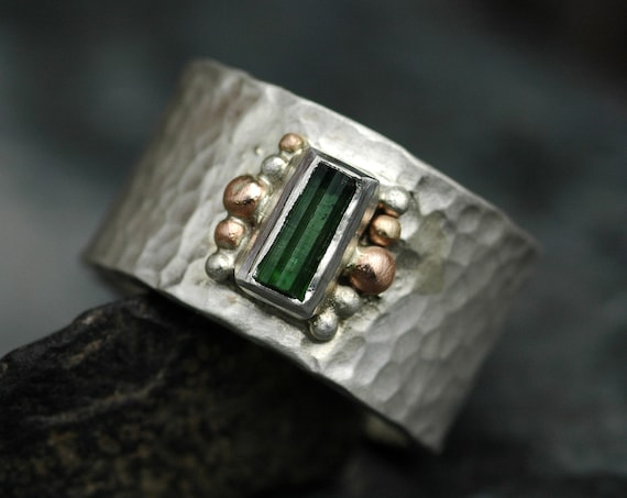 Forest Green Tourmaline Crystal on Sterling Silver Ring with Rose and Yellow Gold- Ready To Ship Size 8.5 Finger