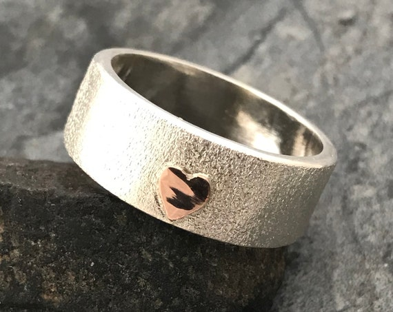 Sterling Silver Band with Yellow or Rose Gold Heart- Custom Made