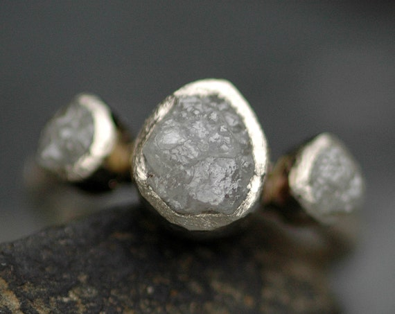 Conflict Free Rough Diamond Trio- Three Raw Diamonds on Recycled Gold Engagement Ring Custom Made