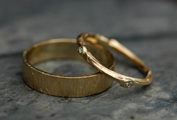 Recycled 14k Yellow Gold Wedding Band Set- Woodland Theme- Birch Bark and Twig with Cut Diamonds- Reserved Order