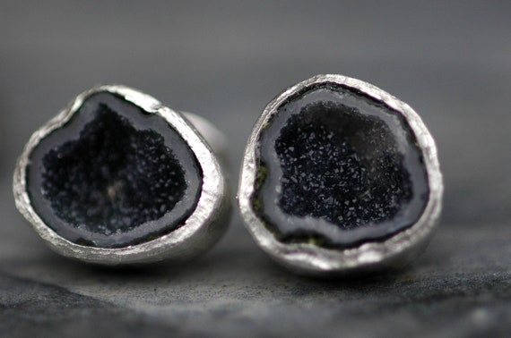 Geode Cuff Links in Sterling Silver-  Ready To Ship Rough Crystal Cufflinks for French Cuffs