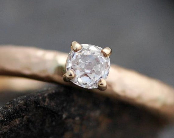 Antique 1800's Old Mine Cut Miner Cut Diamond in 18k Recycled Gold Ring- Vintage Victorian Era Diamond Prong Set Custom Made Ring