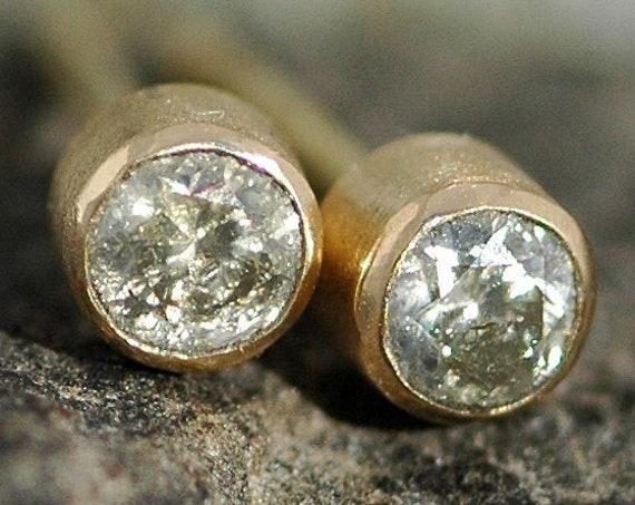 Australian Silvery Cognac Diamonds  in 14k Yellow Gold Post Stud Earrings with Brushed Finish- Ready to Ship