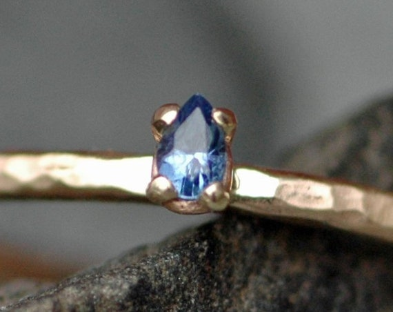 Engagement Ring- Montana Yogo Gulch Sapphire on Thin Recycled 14k Yellow Gold Band- Ready to Ship