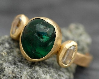 Emerald or Tourmaline and Rough Diamond on Recycled 18k Gold Ring- Made to Order