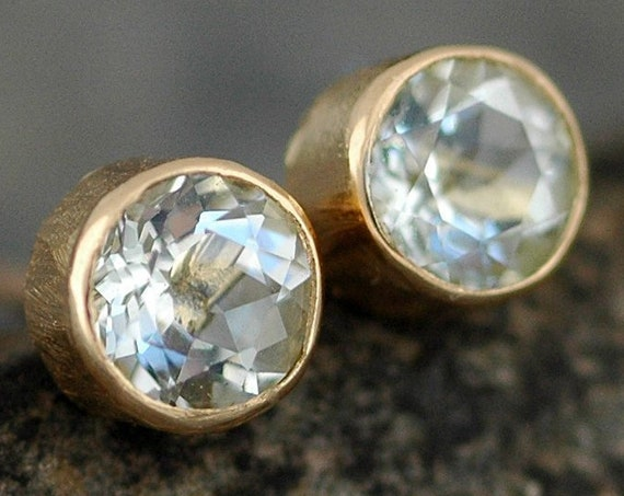 Blue Aquamarine in Textured 14k Yellow Gold Post Earrings- Ready to Ship
