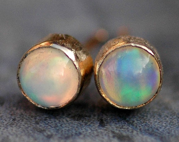 Opal and 14k Yellow, Rose,  or White Gold Earrings- Custom Made to Order