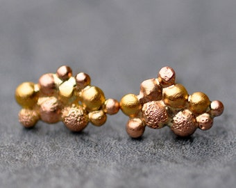 Orb Cluster Rose and Yellow Gold Post Earrings- Ready to Ship