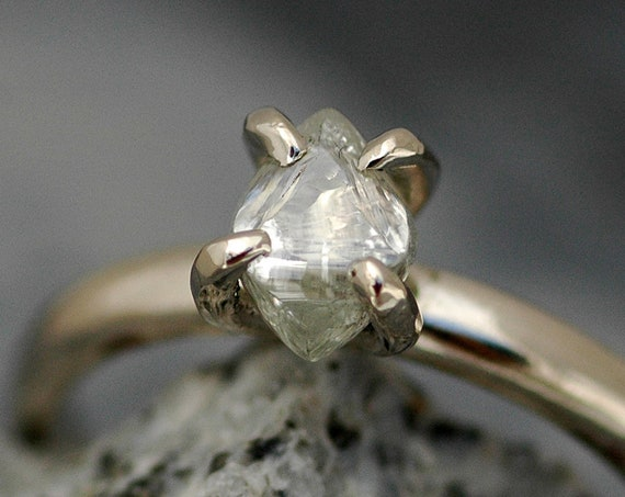 Transparent Raw Rough Diamond on Recycled Gold Band- Custom Made Engagement Ring