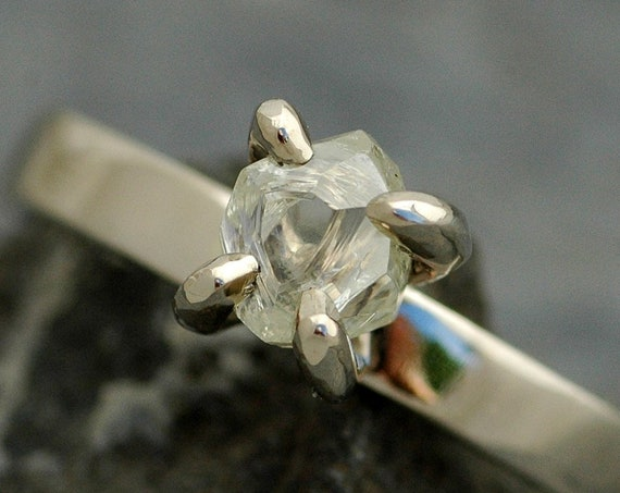 Transparent Conflict Free Raw Rough Uncut Diamond on Thin Recycled Gold Band- Custom Made Engagement Ring with Rough Diamond