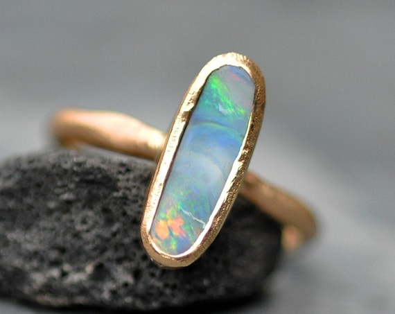 Australian Boulder Opal in Reticulated Recycled 14k Yellow Gold  Ring Size 7.5 Ready to Ship