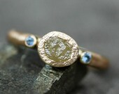 Raw Yellow Diamond, Cornflower Blue Yogo Sapphires, and 14k or 18k Recycled Gold Ring- Made to Order
