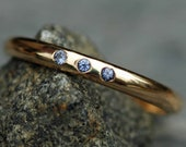 American Montana Yogo Gulch Sapphires in Recycled 14k or 18k Ring- Custom Made Wedding Band