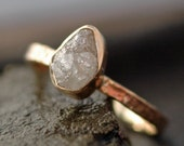 Conflict Free Raw Rough Large Diamond Engagement Ring in Recycled 14k Gold- 1.25 Carat Raw Diamond