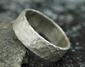 """Frosted Hammered Textured Sterling Silver Band- Custom 1/4"""" Wedding Band"""