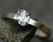 Engagement Ring- Transparent Raw Diamond on Thin Recycled Gold Band- Custom Made Engagement Ring