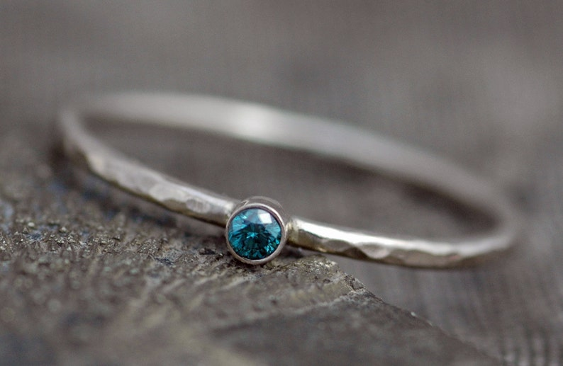 Blue Diamond on Thin Solid Recycled 14k Gold Stacking image 0