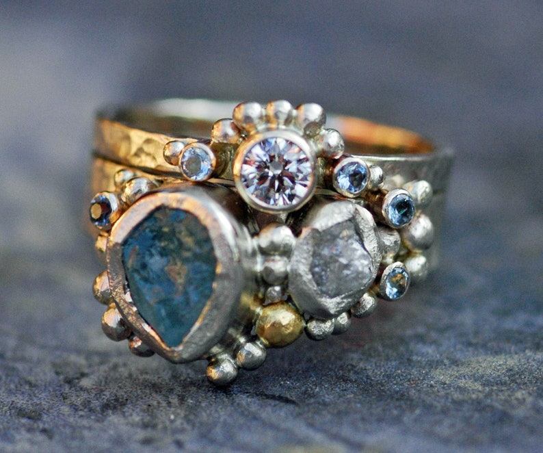 Multistone Raw Aquamarine Rough and Cut Diamond Recycled Gold image 0