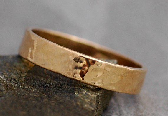 Gold Wedding Band- Recycled Gold, Water Hammered Finish in Recycled 14k, or 18k White, Yellow, or Rose Gold
