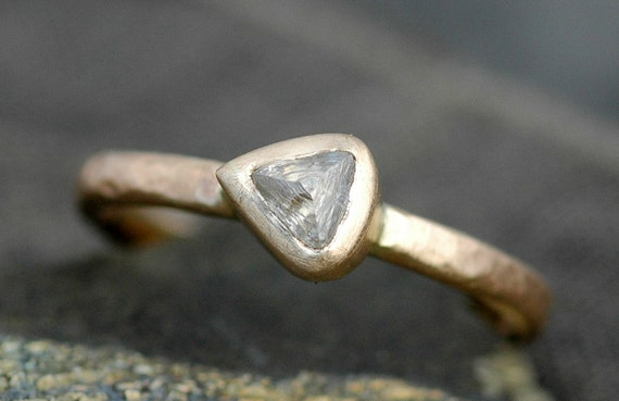 Engagement Ring- Transparent Raw Rough Diamond in 14k or 18k  Recycled Gold Ring- Custom Engagement Ring Rough Uncut Stone