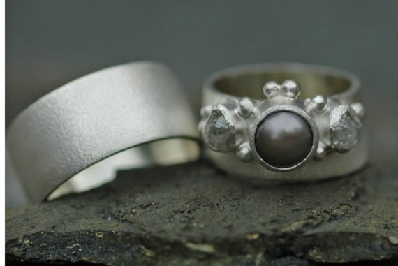 Three Ring Bridal Set- Raw Rough Diamond and Pearl Engagement Ring  and His-and-hers Wedding Band Set