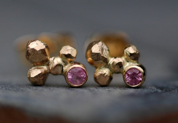 Pink Sapphires in Orb Cluster Rose and Yellow Gold Post Earrings- Made to Order