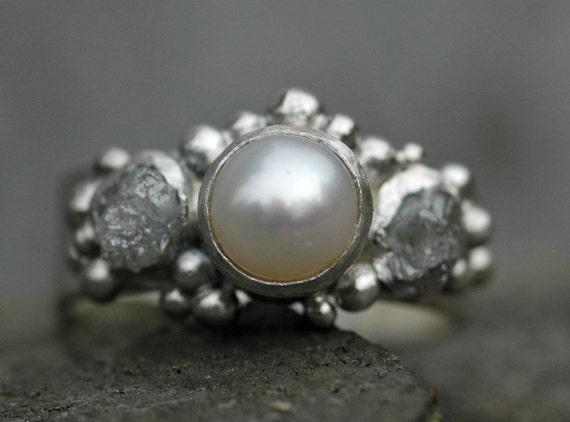 Rough Raw Diamond and Pearl Engagement Band- Custom Made Custom Colour