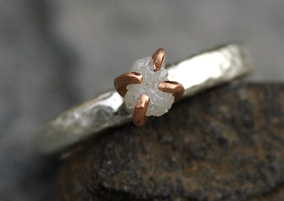 Rose Gold and Hammered Sterling Silver Rough Diamond Ring- Ready to Ship