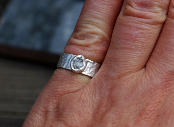 Raw Rough Diamond Ring in Recycled Hammered Sterling Ready to Ship Size 5 3/4 Fits Size 5.5