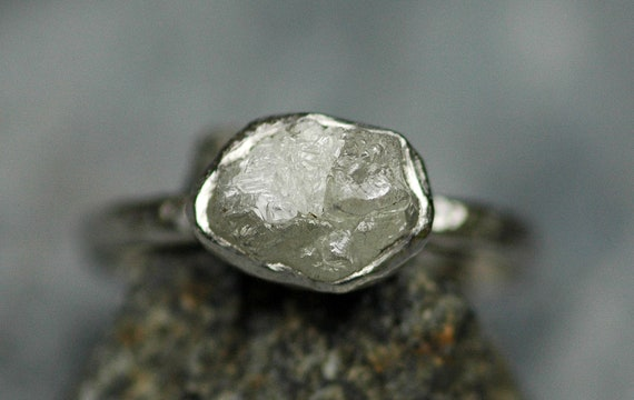 Platinum and Conflict-free Raw Diamond Engagement Ring with Hammered Band- Ready To Ship Size 5.5- 5.75