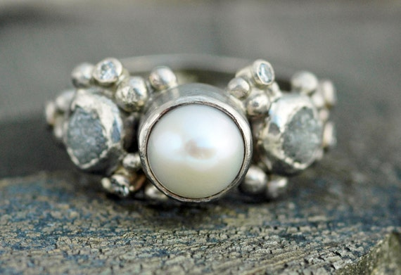 Recycled Gold Rough Diamond, Diamond Melee and Pearl Engagement Band- Custom Made Custom Colour