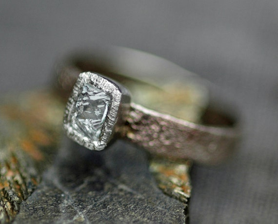 Sawn Australian Diamond on Hand Forged Recycled Gold Ring- Custom Made Engagement Ring Rough Uncut Stone Colored Diamond