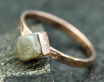 Raw Diamond in Rose Gold Ring