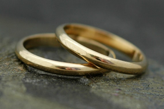 Two Gold Stacking Rings- Recycled Gold, Custom Made to Order Wedding Bands
