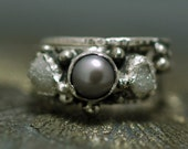 Diamond and Pearl Engagement Ring with Sterling Silver Wedding Band- Custom Made