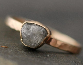 Rough Large Diamond Engagement Ring in 14k Rose, White, or Yellow Recycled Gold- One Carat Size C Diamonds
