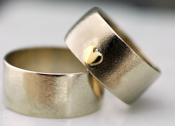 14k Gold Wedding Band Set with Yellow Gold Heart- Custom Made