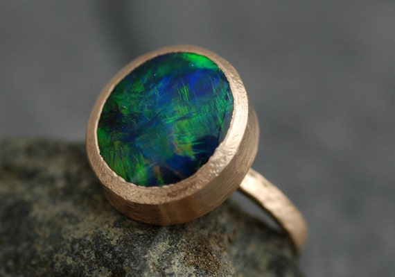 Deposit- Huge Black Opal in Recycled 18k Gold- Made to Order, Deposit
